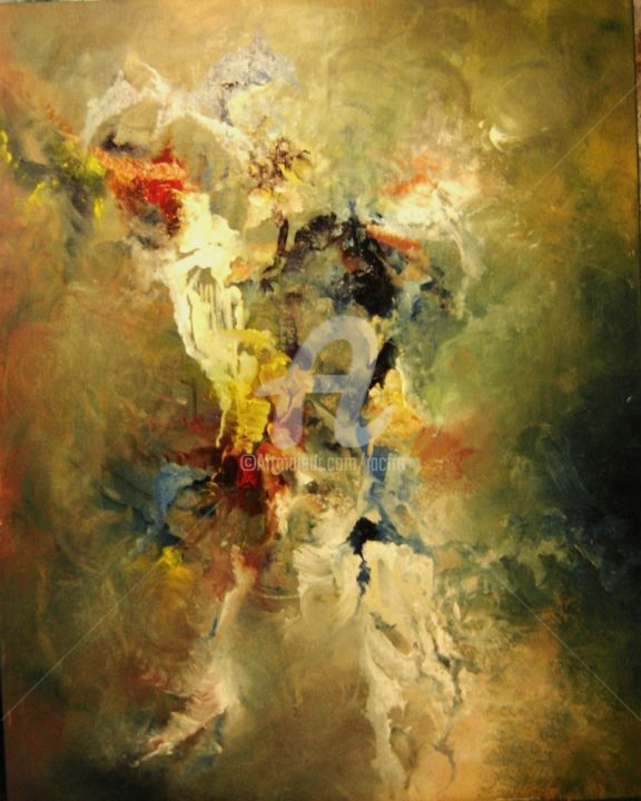 COMPOSITION  (N° 104) - Painting,  92x73x92 cm ©2013 by Jacques Chamard -                        Abstract Art