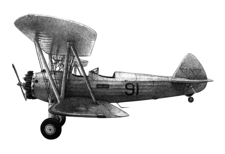 Boeing Stearman - Zeichnungen,  8,3x11,4 in, ©2009 von Jack Kaminski -                                                                                                                                                                          Illustration, illustration-600, Flugzeug