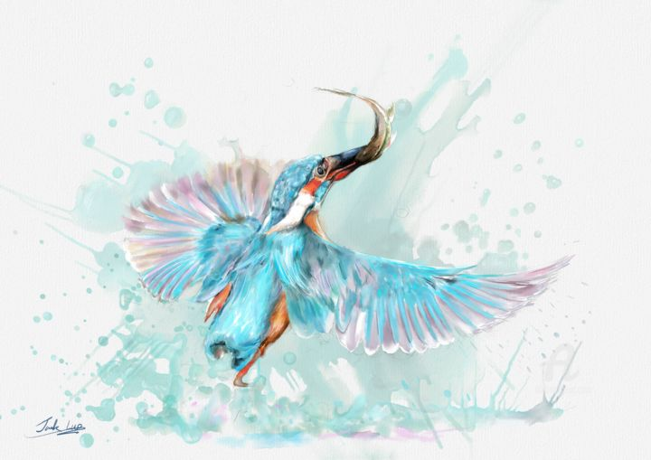 Blue kingfisher - Painting,  11.7x16.5 in, ©2019 by jack luo -                                                                                                                                                                                                                                                                                                                                                                                                                                                                                                                                                                                                                                                                                                                                                                          Illustration, illustration-600, Animals, Fantasy, Water, Spirituality, Birds, Blue kingfisher, Watercolor, watercolor animals, watercolor birds, kingfisher fishing, fun, cute, splash, fishing