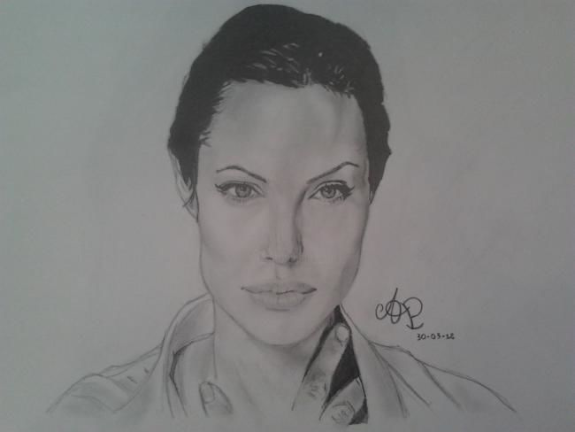 Angelina Jolie - Painting,  33x24 cm ©2012 by Andrea Palumbo -