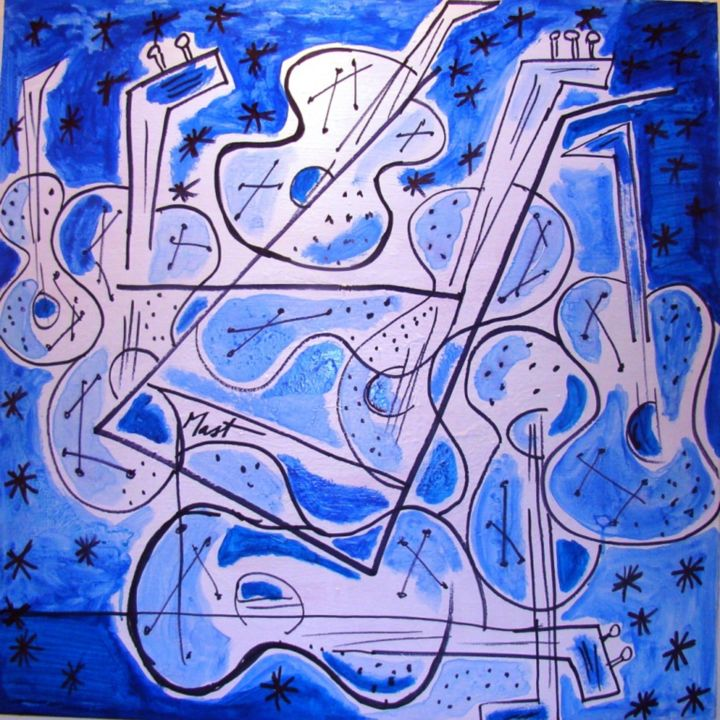 musica-azul - Painting,  31.5x31.5 in, ©2014 by jack mast -                                                                                                                                                                                                                                                                                                                                                                                                                                                                                                                                                                                                                                                                                                                                                                                                                                                                  Abstract, abstract-570, Abstract Art, musica, azul, musique, bleue, instrument de musique, bleu, abstrait, abstrato, música, instrumento, musical, blue, abstract, music, instrument