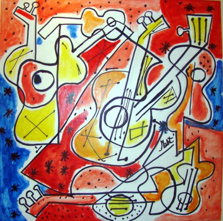 violao - Painting,  31.5x31.5 in, ©2014 by jack mast -                                                                                                                                                                                                                                                                                                                                                                                                                                                                                                                                                                                                                                                                                  Abstract, abstract-570, Music, musica, violon, violão, guitare, violin, guitar, music, скрипка, гитара, guitarra, violín