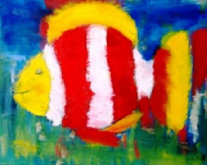 poisson-clown-heureux - Painting,  15.8x19.7 in, ©2014 by jack mast -                                                                                                                                                                                                                                                                                                                                                                                                                                                                                                                                                                                                                                                                                                                                                                          Abstract, abstract-570, Fish, peixe, feliz, poisson, heureux, happy, clown, fish, red, white, pez, payaso, счастливы, рыба-клоун