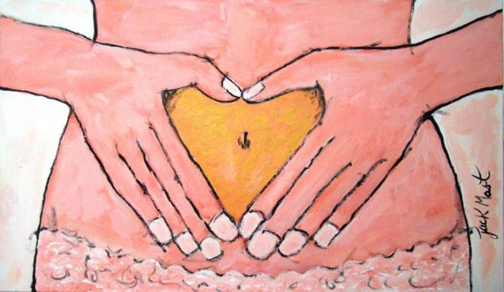coracao de ouro - Painting,  27.6x47.2 in, ©2014 by jack mast -                                                                                                                                                                                                                                                                                                                                                                                                                                                                                                                                                                                                                                                                                                                                                                                                                                                                                                                                                                                                                                                                                              Abstract, abstract-570, Abstract Art, coeur, or, coração, ouro, main, mains, corps, femme, rose, heart, gold, hand, hands, body, woman, pink coração, Coração, Ouro, mão, mãos