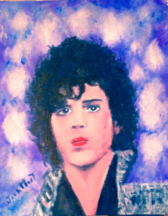 prince king of rock - Painting,  9.8x7.9x0.8 in, ©2016 by jack mast -                                                                                                                                                                                                                                                                                                                  Figurative, figurative-594, Portraits, prince, king, of rock