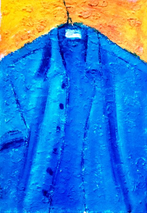 camisa azul-37-5x54-5x3cm - Painting,  21.3x14.8x1.2 in, ©2016 by jack mast -                                                                                                                                                                                                                                                                      Abstract, abstract-570, Men, chemise bleue, fond jaune