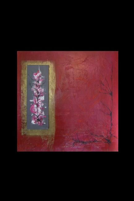 ROUGE RELIEF - Painting,  100x100 cm ©2010 by Jacky Duvigneau -