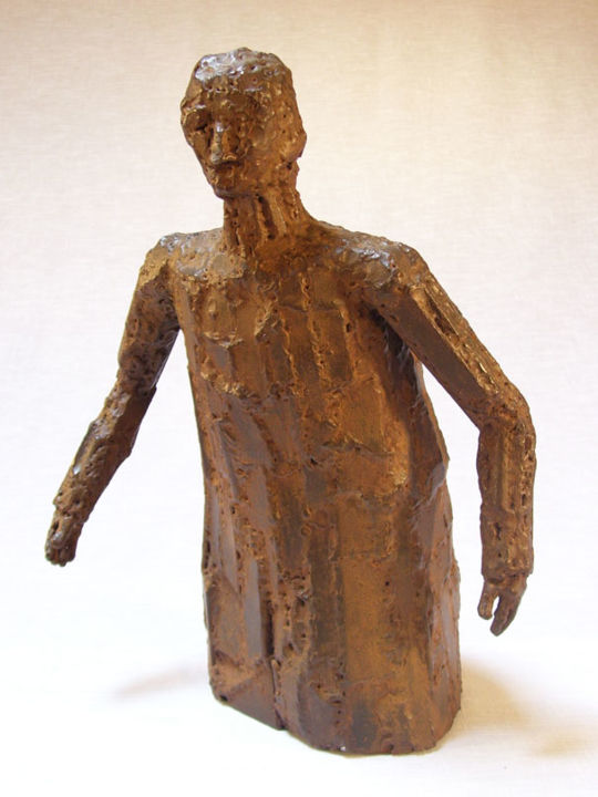 L'homme au manteau - Sculpture,  16.5 in, ©2002 by Jaco -                                                                                                                                                                                                  sculpture, fer, soudé, stage