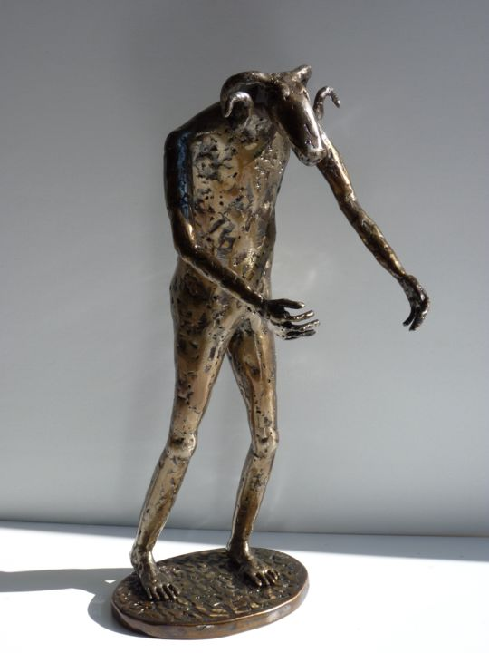 Homme-bélier - Sculpture,  38 cm ©2014 by Jaco -                                                        Figurative Art, Metal, People