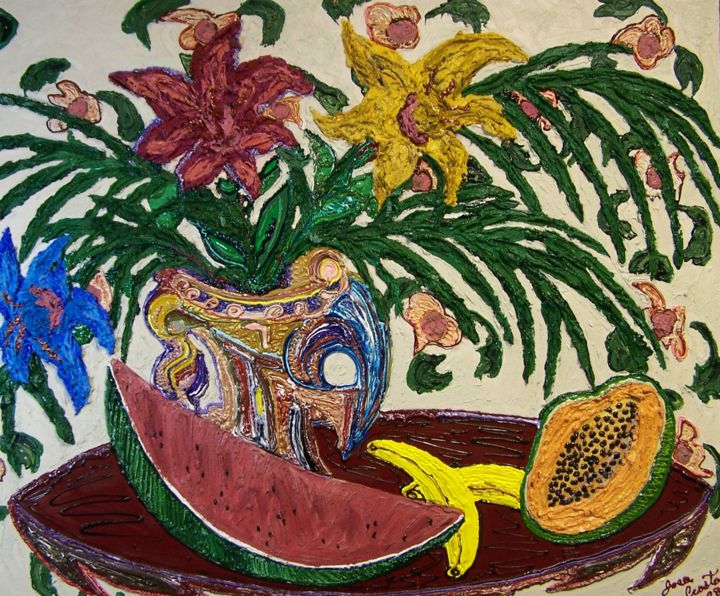 """Painting titled """"Fruits of His Labor"""" by Jose Acosta, Original Art, Acrylic Mounted on Stretcher frame"""