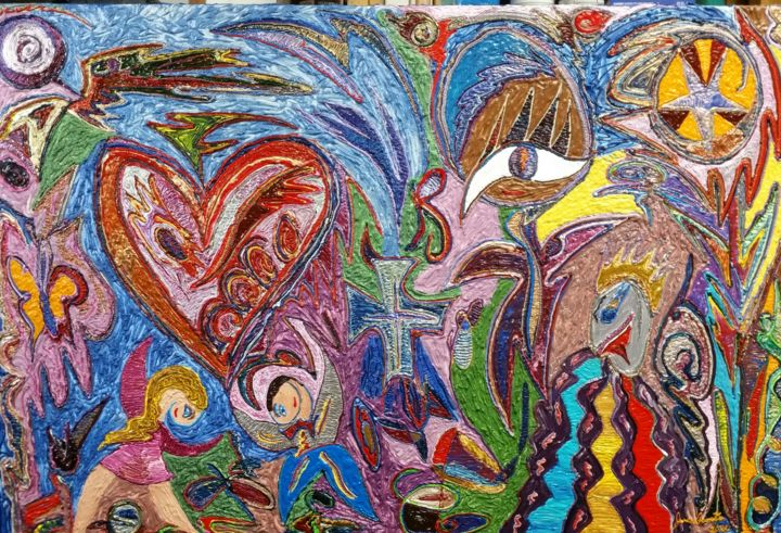 """Painting titled """"This is You Heart"""" by Jose Acosta, Original Art, Acrylic Mounted on Stretcher frame"""