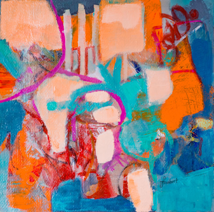 """Painting titled """"Abstraction orange 2"""" by Jacqueline Faubert, Original Art, Acrylic"""