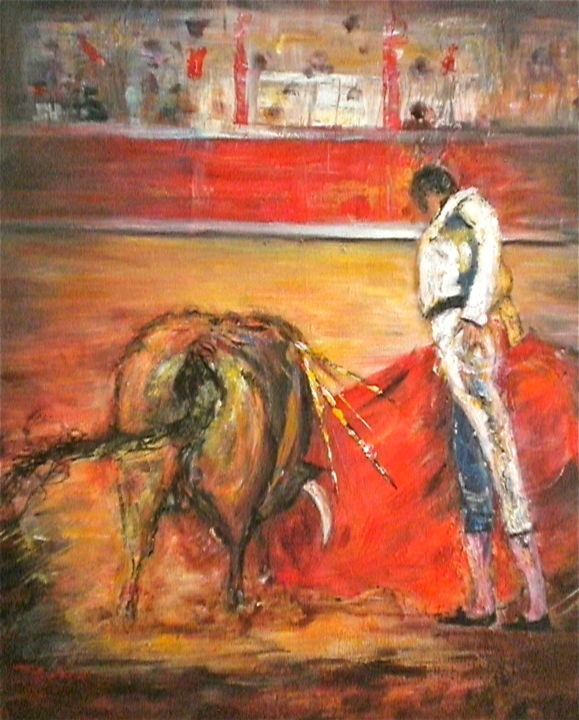 Derechazos - Painting,  21.7x18.1x0.8 in, ©2017 by Jacqueline Baby -                                                                                                                                                                                                                                                                                                                                                              Figurative, figurative-594, World Culture, Corrida, rouge, taureau, Toréador