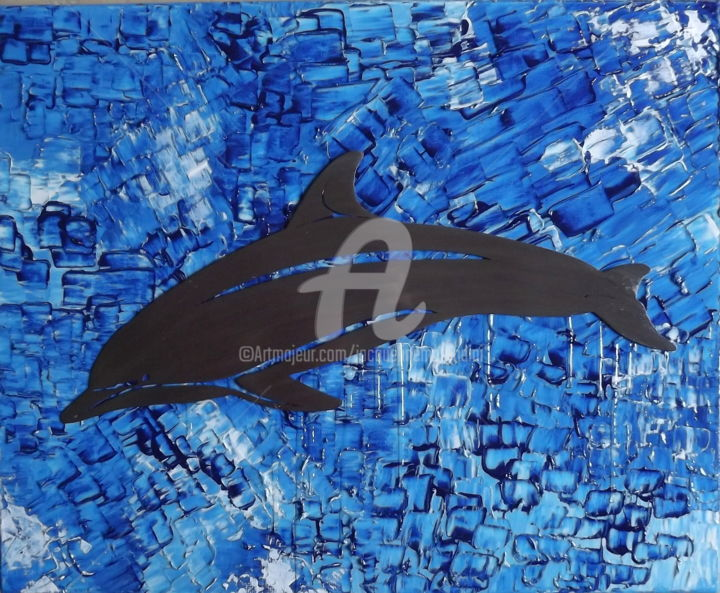 Le Grand Bleu.jpg - Painting,  50x61x1.5 cm ©2018 by jacqueline morandini -                                                                                                Contemporary painting, Metal, Canvas, Animals, Water, Nature, Dauphin, mer, océan, nature