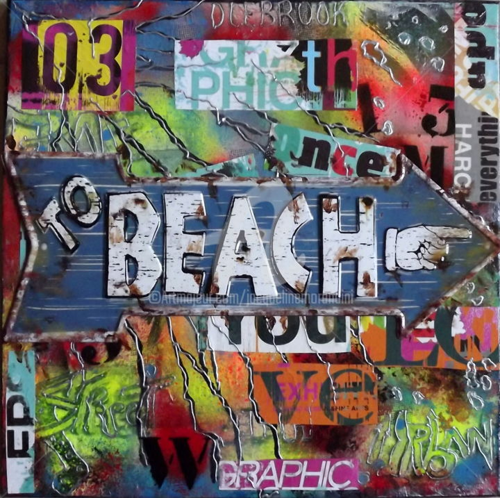 Graffs to the Beach - Painting,  50x50x1.5 cm ©2018 by jacqueline morandini -                                                                                                            Paper arts, Contemporary painting, Street Art (Urban Art), Other, Metal, Paper, Beach, graffs, beach