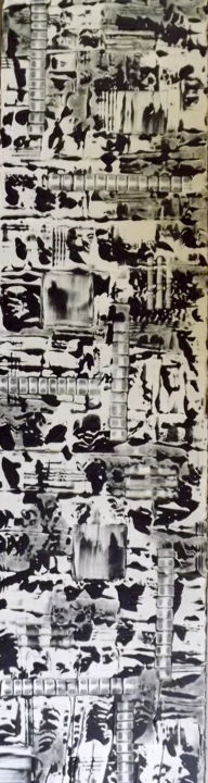 Totem de la Zénitude - Painting,  63x15.8x0.6 in, ©2016 by jacqueline morandini -                                                                                                                                                                                                                                                                                                                                                                                                                                                      Abstract, abstract-570, Black and White, Spirituality, Colors, Health & Beauty, noir blanc, zen, spiritualité