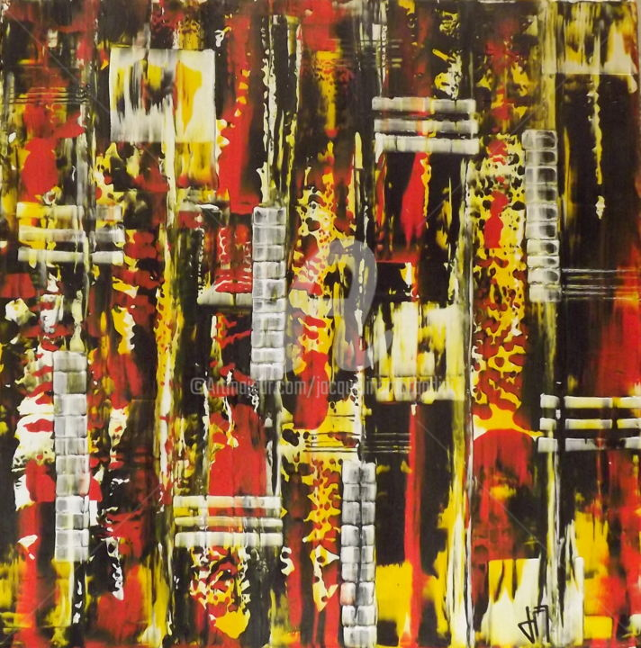 Bulles de Feu - Peinture,  23,6x23,6x1 in, ©2016 par Jacqueline Morandini -                                                                                                                                                                          Abstract, abstract-570, Nature