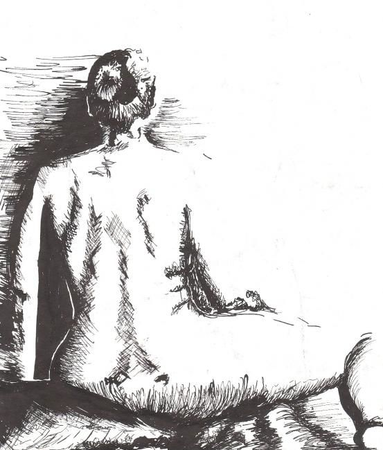 """Drawing titled """"Back of Seated Woman"""" by Jacqueline Nalett, Original Art, Other"""