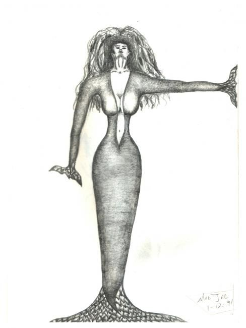 """Drawing titled """"Mermaid Woman"""" by Jacqueline Nalett, Original Art, Other"""