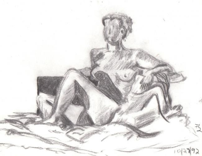 """Drawing titled """"Seated woman"""" by Jacqueline Nalett, Original Art, Other"""