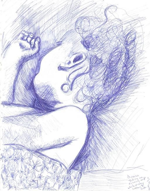 """Drawing titled """"Denise Sleeping 1"""" by Jacqueline Nalett, Original Art, Other"""