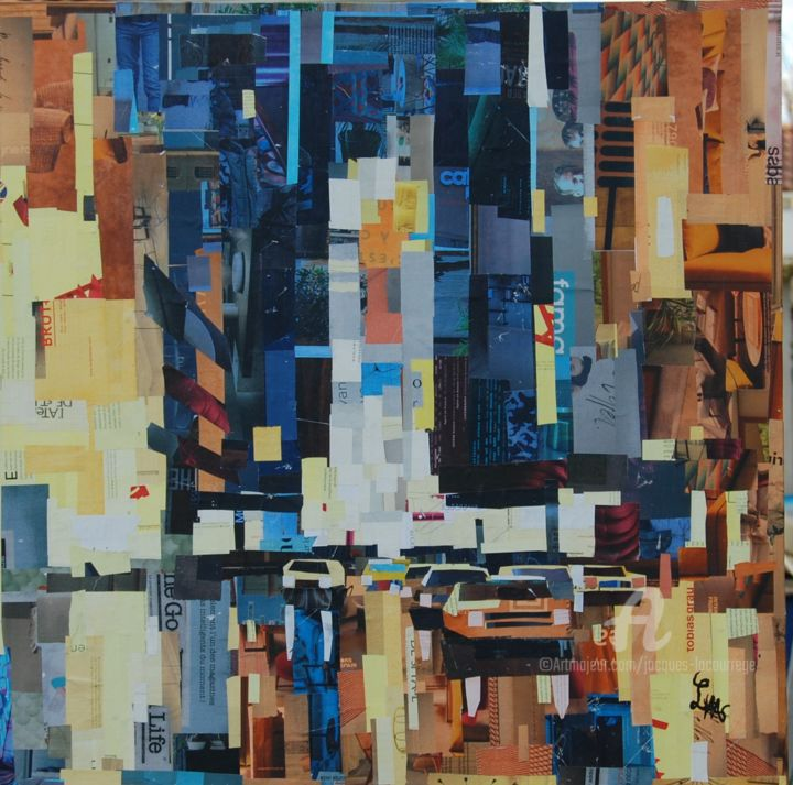 New York by night - Collages,  27.6x27.6x2 in, ©2019 by JACQUES LACOURREGE -                                                                                                                                                                          Figurative, figurative-594, collage