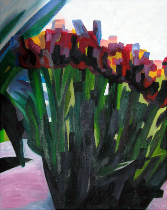 10-Tulipes-huile-sur-toile-40x50.jpg - Painting,  19.7x15.8x0.8 in, ©2013 by Jacques Pichon (picjac) -                                                                                                                                                                                                                                                                      Expressionism, expressionism-591, Still life, Tulipes, Fleurs