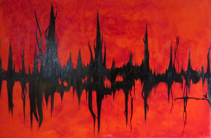 88-systoles-huile-sur-toile-100x65.jpg - Painting,  25.6x39.4x1.2 in, ©2016 by Jacques Pichon (picjac) -                                                                                                                                                                                                                                                                                                                  Abstract, abstract-570, Abstract Art, rouge, coeur, graphisme