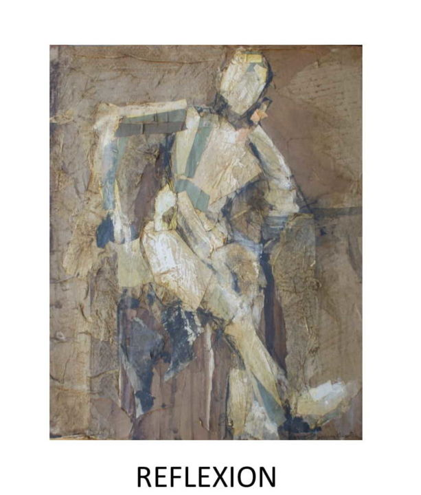 """Collages titled """"reflexion"""" by Jacques Chevalier, Original Art, Collages Mounted on Cardboard"""