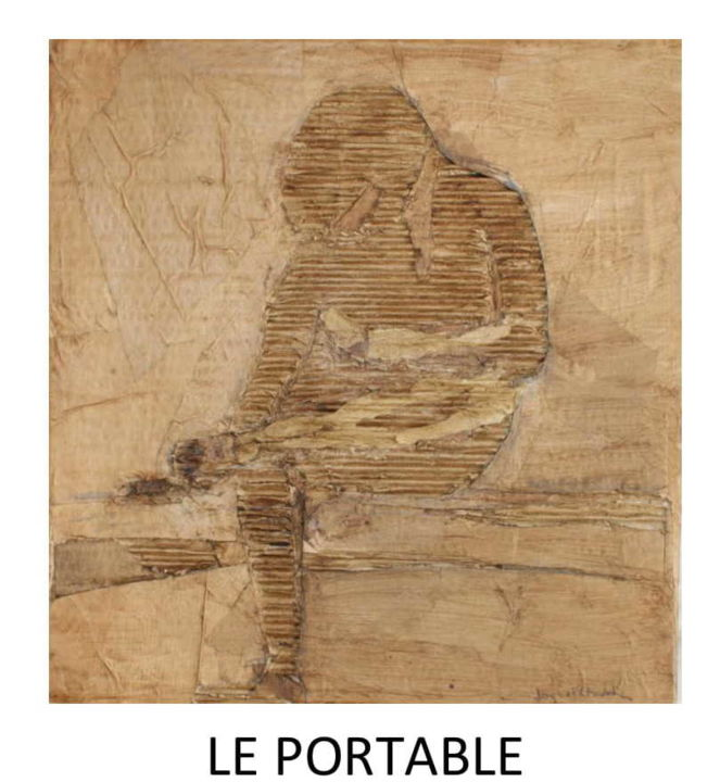 """Collages titled """"le portable"""" by Jacques Chevalier, Original Art, Collages Mounted on Cardboard"""
