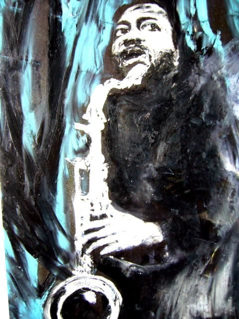 Hank Mobley - Painting,  12.6x9.5 in, ©2007 by Jacques Cauda -