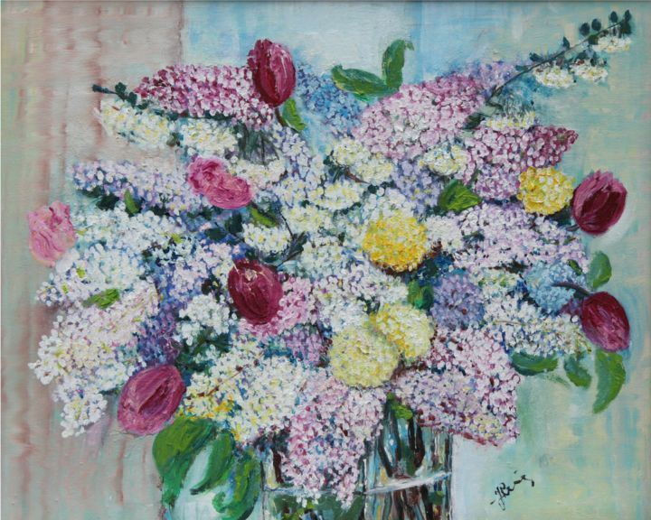 Flieder  für Mutter - Painting,  50x70x1 cm ©2010 by Jaga Rudnicka -                                                            Impressionism, Canvas, Flower, Flieder, Mutter, Wasser, Vase, Blätter, Wand