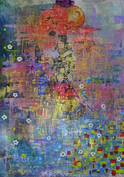 """""""The Bridesmaids"""" - Collages,  39.4x27.6 in, ©2019 by Jaiodesign -                                                                                                                                                                                                                                                                                                                                                                                                                                                      Abstract, abstract-570, Abstract Art, Colors, abstract, klimt, hundertwasser, decoration, painting"""