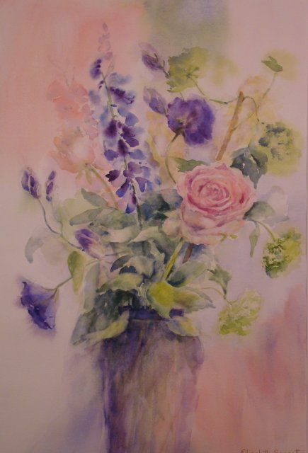 Pink Roses - Painting,  21x13 in, ©2010 by Elizabeth Sennett -                                                                                                                                                                                                                      Figurative, figurative-594, flowers, roses