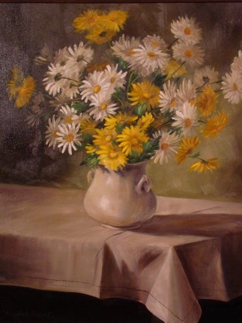 Daisy Country - Painting,  24x20x0.4 in, ©2010 by Elizabeth Sennett -                                                                                                                                                                                                                                                                  Figurative, figurative-594, flowers, informal floral, daisies