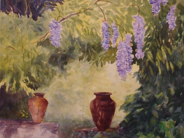 St. Clement's Wisteria - Painting,  20x22 in, ©2009 by Elizabeth Sennett -                                                                                                                                                                                                                                                                                                              Figurative, figurative-594, wisteria, hanging flowers, St. Clement's castle, courtyard view