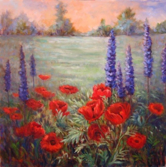 Poppies and Lupines - Painting,  30x30 in, ©2009 by Elizabeth Sennett -                                                                                                                                                                                                                                                                  Figurative, figurative-594, poppies, lupines, field