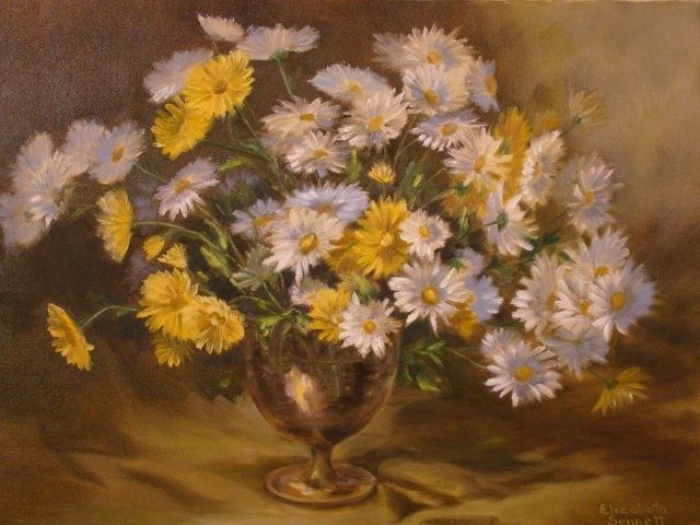 Yellow and White Bouquet - Painting,  16x20x0.4 in, ©2010 by Elizabeth Sennett -                                                                                                                                                                                                                      Figurative, figurative-594, Yellow flowers, bouquets