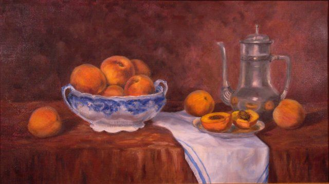 Antique Bowl with Peaches - Painting,  16x28 in, ©2010 by Elizabeth Sennett -                                                                                                                                                                                                                                                                  Figurative, figurative-594, still life, peaches, early American