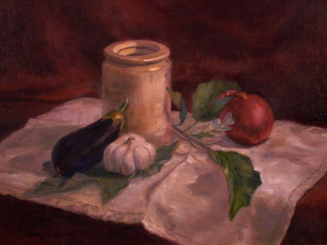 Eggplant Country - Painting,  12x16 in, ©2009 by Elizabeth Sennett -                                                                                                                                                                                                                                                                  Figurative, figurative-594, vegetables, informal, country still life
