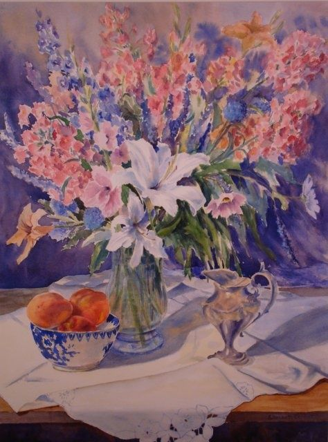 Peaches and Lilies - Painting,  29x22x0.4 in, ©2010 by Elizabeth Sennett -                                                                                                                                                                                                                                                                  Figurative, figurative-594, lilies, peaches, flowers