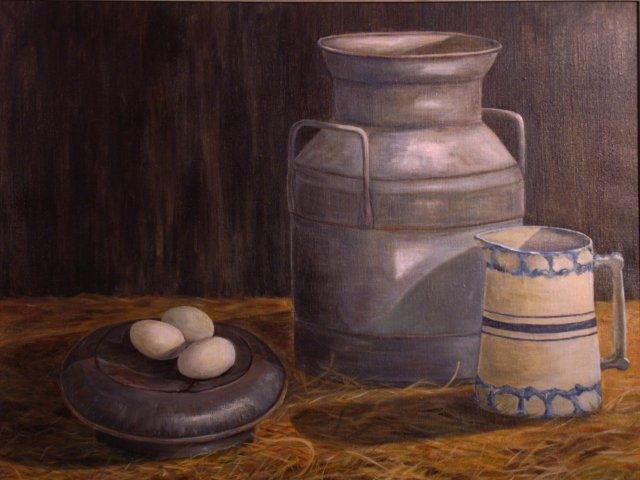The Old Milk Can - Painting,  22x28 in, ©2009 by Elizabeth Sennett -                                                                                                                                                                                                                                                                                                              Figurative, figurative-594, farming, milk can, informal, country