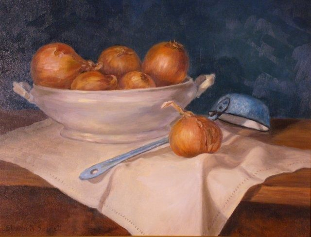 Soup Tureen and Onions - Painting,  14x18 in, ©2010 by Elizabeth Sennett -                                                                                                                                                                                                                                                                  Figurative, figurative-594, Early American still life, Soup tureen, Onion still life