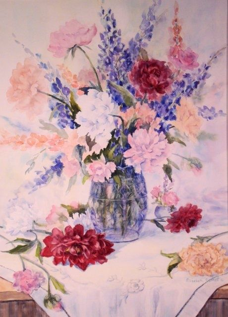 Formal Floral #1 - Painting,  26x19 in, ©2010 by Elizabeth Sennett -                                                                                                                                                                                                                                                                  Figurative, figurative-594, Formal Floral, Peonies, Red and Pink Flowers