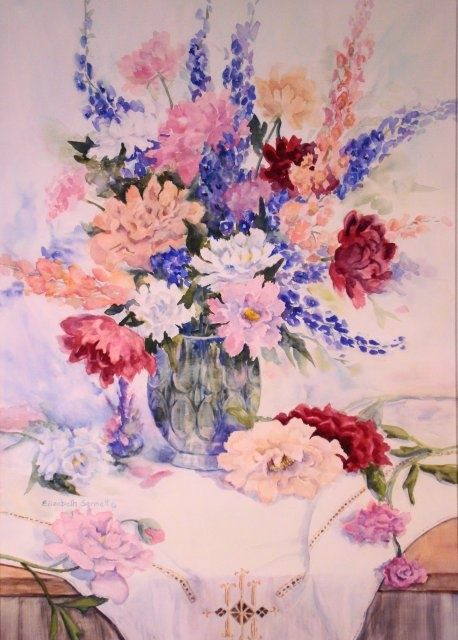Formal Floral #2 - Painting,  26x19x0.4 in, ©2010 by Elizabeth Sennett -                                                                                                                                                                                                                                                                  Figurative, figurative-594, Formal Floral, Peonies, Red and Pink Flowers