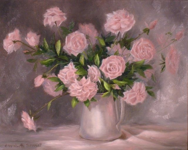 Pink Roses and Pewter - Painting,  16x20 in, ©2010 by Elizabeth Sennett -                                                                                                                                                                                                                                                                  Figurative, figurative-594, Pink Roses, Pewter, Still Life
