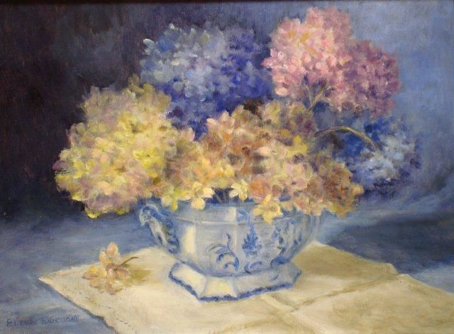 Antique Bowl with Hydrangeas - Painting,  12x16 in, ©2013 by Elizabeth Sennett -                                                                                                                                                                          Figurative, figurative-594, This container is an antique bowl with dried hydrangeas.  Blue on linen cloth.