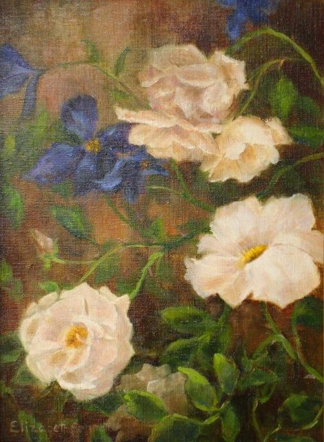Roses and Clematis - Painting,  12x9 in, ©2013 by Elizabeth Sennett -                                                                                                                                                                          Figurative, figurative-594, Pink Roses and Dark Purple Clematis