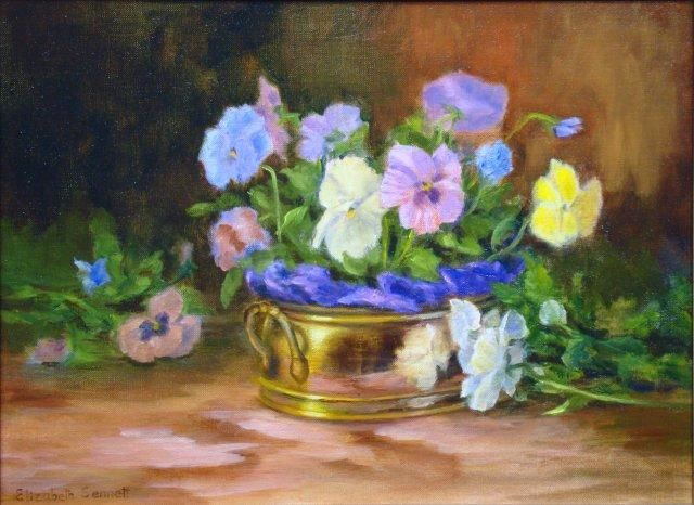 Pansies and Brass - Painting,  12x16 in, ©2013 by Elizabeth Sennett -                                                                                                                                                                          Figurative, figurative-594, Pansies are Reflecting in the Brass Container