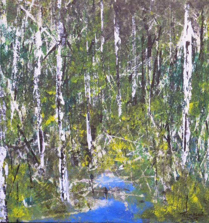 Hidden Water - Painting,  18x18 in ©2013 by James Thompson -                                                                        Abstract Expressionism, Canvas, Abstract Art, Landscape, trees, Canada